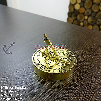 Sundial Nautical Adjustable Surface Home Office Desk Decor Solid Brass MARINE
