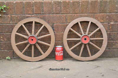 set of 2 vintage old wooden cart wagon wheels wheel / 35.5 cm - FREE DELIVERY