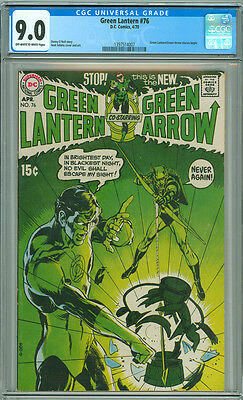 Green Lantern 76 CGC 9.0 VF/NM OW/W DC 1970 1st Green Arrow Team-up Neal Adams