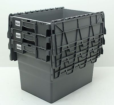 Used 3 x Large Heavy Duty Plastic Storage Box Boxes With Folding Lids Free P&P