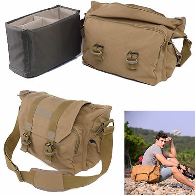 Vintage Canvas DSLR Camera Case Messenger Shoulder Bag For Nikon Sony Canon