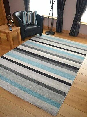 Small Extra Large Modern Duck Egg Blue Silver Stripe Floor Carpet Mat Rugs Cheap
