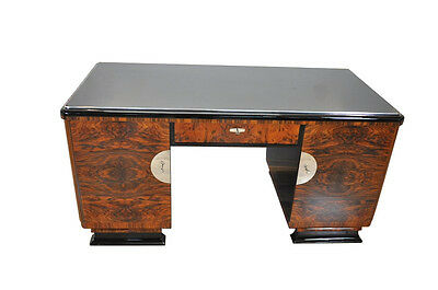 Two Sided Art Deco Desk with Burl Wood Doors