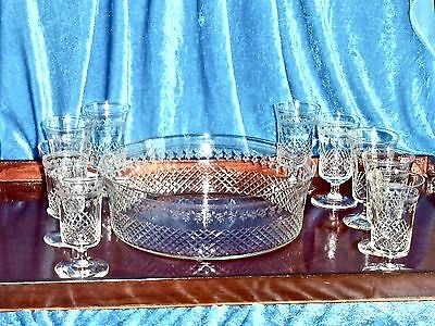 Exquisite Hand Crafted Needle Etched Crystal Serving Set  For 9 Persons