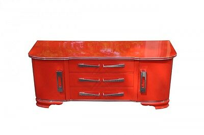 Bright Red Art Deco Chest of Drawers