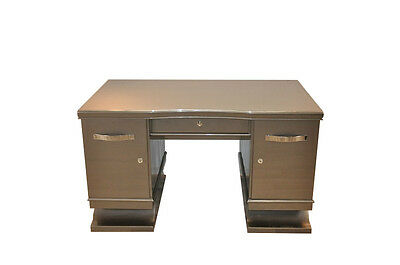 Belgian Art Deco Desk in Metallic Grey