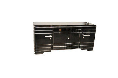 Large Art Deco Sideboard with Chrome Bars
