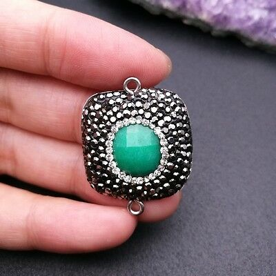 HN010  2 PCS 19x19mm Green Jade Square Connector Trimmed With Crystal Zircon