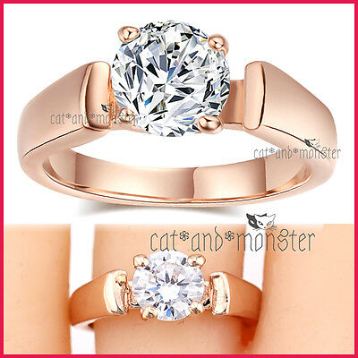 18K Rose Gold Gf Ladies Girls Solid 2Ct Solitaire Wedding Eternity Crystal Ring