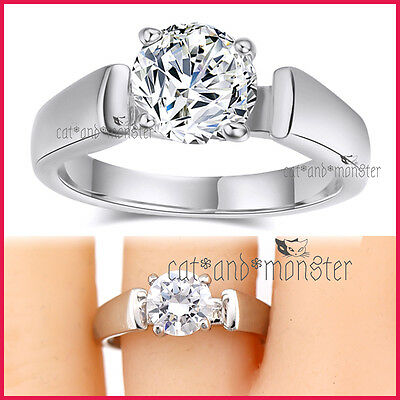 18K White Gold Gf Ladies Girls Solid 2Ct Solitaire Wedding Eternity Crystal Ring
