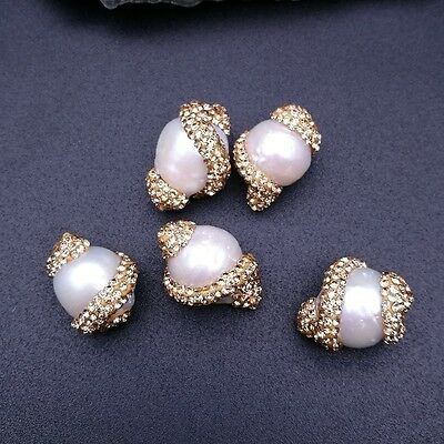 HB036 5PCS 17x22mm White Keshi Pearl Beads Trimmed With Crystal Zircon