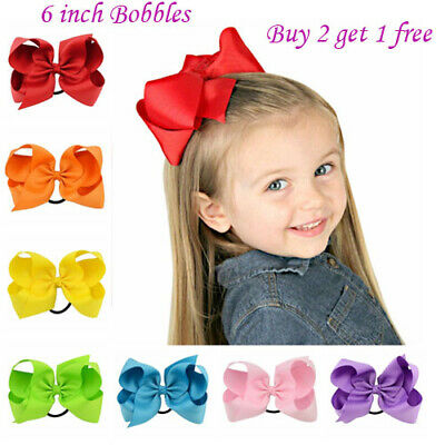 "6"" Bow Girls kids Ribbon Handmade pony tail band Hair Bows with Elastic Bobbles"