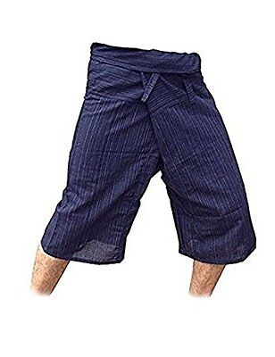 Thai Fisherman Pants Yoga Trousers Free Size 3/4 Cotton Stripe-Dark Navy Blue