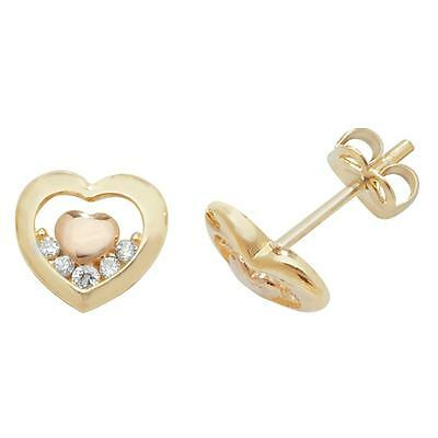 Pair of 9ct Yellow Gold 6x5mm Small Heart Cz Stud Earrings Weight 0.60g