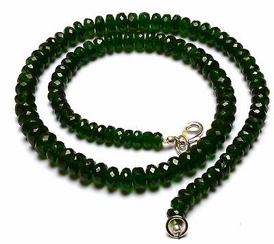"""Super Fine Quality Chrome Diopside Facet Big 6 to 8MM Rondelle Beads Necklace16"""""""