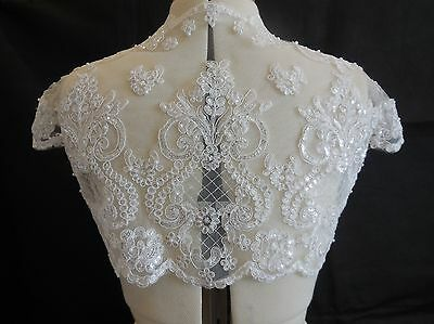 Bridal wedding ivory beaded lace floral bolero cover ivory lace shrug Bust:36in