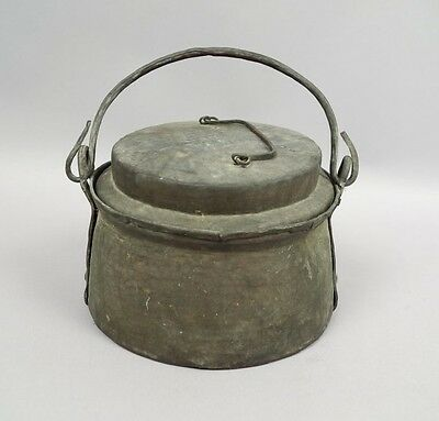 Antique c1900 Chinese Hammered Copper w Tinned Interior Covered Cooking Pot