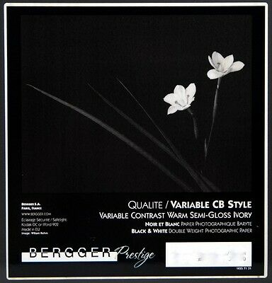 Bergger Variable CB Style  Warm Semi-Gloss Ivory Photographic Paper 12 x 16