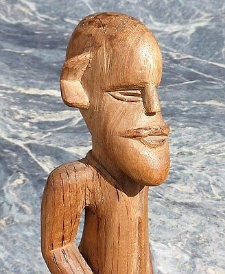 Fine Old Congo Bembe African Tribal Art Colonial Moustached Male Figure No Axe