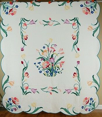 WELL QUILTED Vintage 30's Tulip Bouquet Applique Antique Quilt ~GREAT DESIGN!