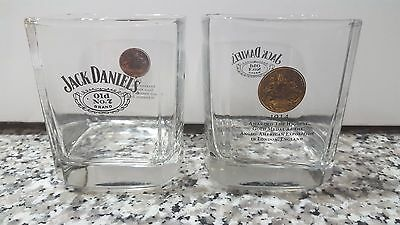 Lot of 2 Jack Daniels Whiskey Old No.7 Brand 1914 Gold Medal Square Glass
