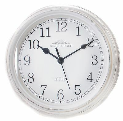 Shabby Chic Vintage Kitchen King's Cross London Wall Hanging Clock 22cm ~ White