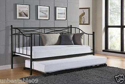 New White Black Metal Day Bed With or Without Trundle Frame and Mattress Option
