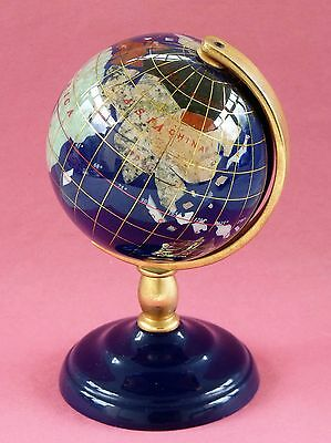 Blue Lapis Semi Precious Gemstone Desk Table Top Revolving Globe World Map Atlas