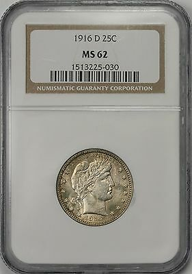1916-D Barber Quarter 25C MS 62 NGC
