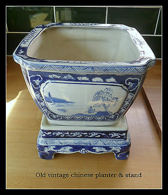 Large Antique/ Vintage  Chinese Blue and White Planter with Stand
