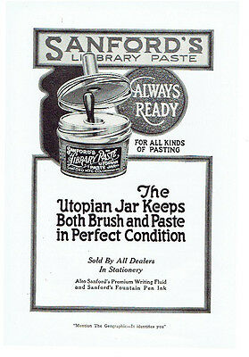 Vintage, Original, 1920 - Sanford's Library Paste Advertisement - Glue, Office