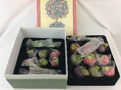 Valerie Parr Hill Sugar Beaded Fruit Ornaments in Storage Box 22 Pieces