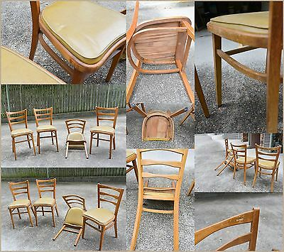 Timber & Vinyl Dining Chairs x 4 for restore
