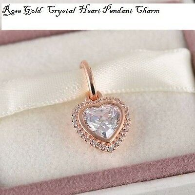 Genuine Pandora Gift Pouch & Rose Gold Crystal Heart Charm S 925