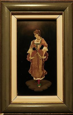 Vintage Pietra Dura Plaque. Female Standing in a Frilly Dress.