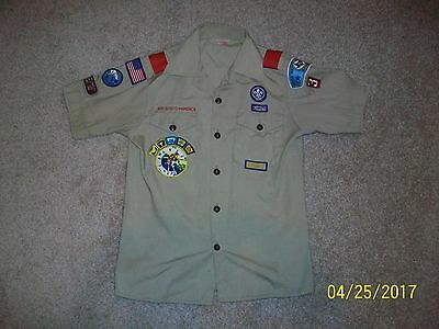 Tan Boy Scout Shirt -Size 14 with Circle Ten and Camp Cherokee with Segments