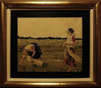 Signed Vintage Pietra Dura Plaque. Two Women Gathering Flowers.