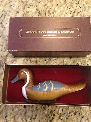 """Vintage Wooden Duck ShoeHorn & Lint Brush Painted """" Preowned """" with box"""