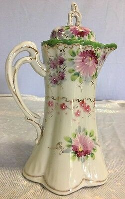 Antique Porcelain Hand Painted Chocolate Pot Pink Purple Green Flowers 9.5""