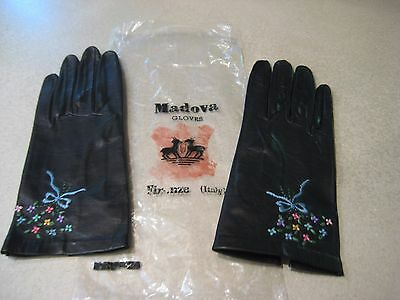 VTG Black w Embroidrd Flowers & Bow MADOVA GLOVES Firenze Italy KID LEATHER SZ 6