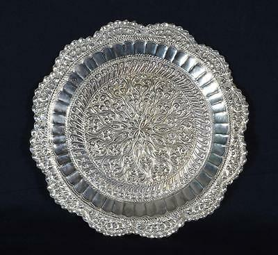 Antique Indian Silver Salver or Card Tray, c.1880s/90s