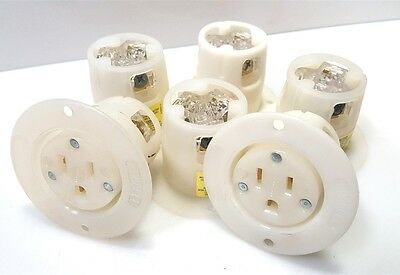 Lot of 6- Hubbell HBL5279C Flanged Single Receptacle 15A 125V 2P 3W NEMA 5-15R