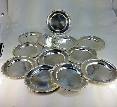 Elegant  Set Of 12  Sterling Silver Reticulated Bread & Butter Dish Plates