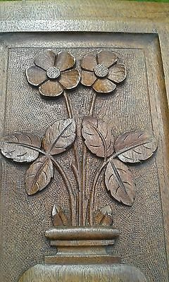 A Lovely Early Solid Hard Wood Hand Carved Panel.