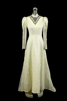 vintage womens ivory WEDDING DRESS gown pearl beaded lace occasion puff sleeve S