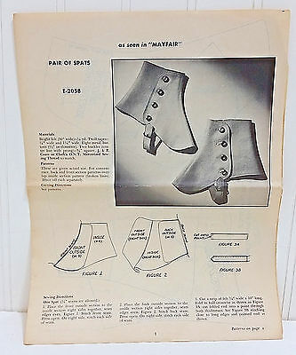Rare Mail Away Order Vtg Sewing Pattern E-2058 Pair of Spats As Seen in MAYFAIR