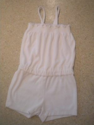 HANNA ANDERSSON White Cotton Terrycloth Spaghetti Strap Romper Sz 110 4 6 years