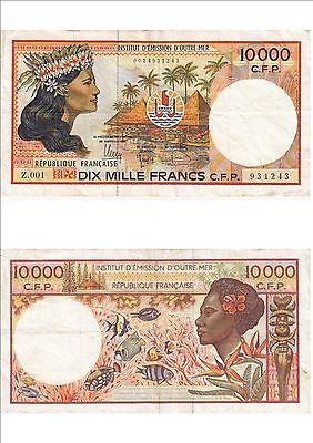 Billet banque FRENCH PACIFIC TAHITI POLYNESIE OUTRE-MER 10000 F Z.001 243