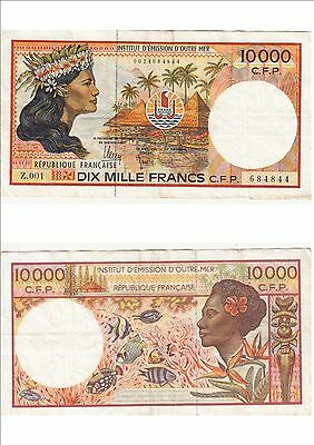 Billet banque FRENCH PACIFIC TAHITI POLYNESIE OUTRE-MER 10000 F Z.001 844