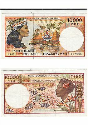 Billet banque FRENCH PACIFIC TAHITI POLYNESIE OUTRE-MER 10000 F Z.001 996